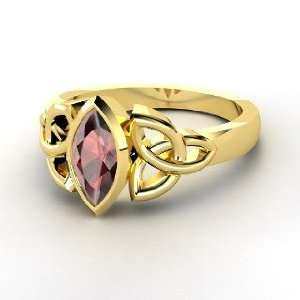 Caitlin Ring, 14K Yellow Gold Ring with Red Garnet
