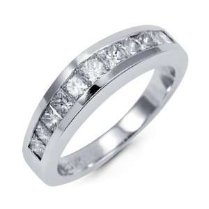 Princess Cut Diamond 14k White Gold Wedding Band Ring