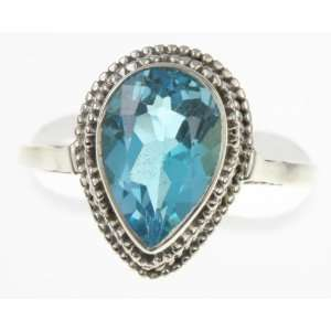 925 Sterling Silver BLUE TOPAZ Ring, Size 6.5, 5.19g Jewelry