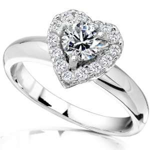 3/5 Carat TW Heart Shaped Diamond Engagement Ring in 14k