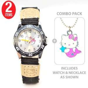 Hello Kitty Girls Learn to tell time watch in BLACK with Hello Kitty