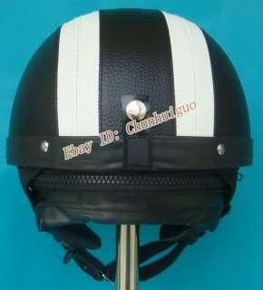 Casco nero bianco Pelle Demi Jet Helmet MOTO M L XL