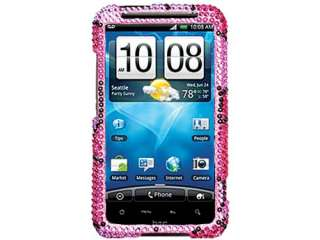 RHINESTONE BLING CRYSTAL CASE COVER HTC INSPIRE 4G HEARTS HOT PINK