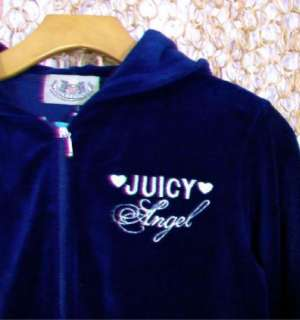 JUICY COUTURE Womens Navy & Gold ANGEL Hoodie Sweater & Pants Set sz M