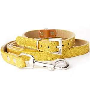 Shining Adjustable Dog Pet Puppy Collar and Lead SET