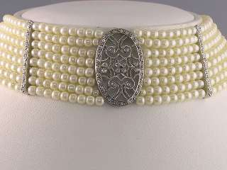 Ivory Simulated Pearl Crystal Choker Necklace Set s0312