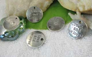 20 Tibetan Silver love and beloved word charms SM0565