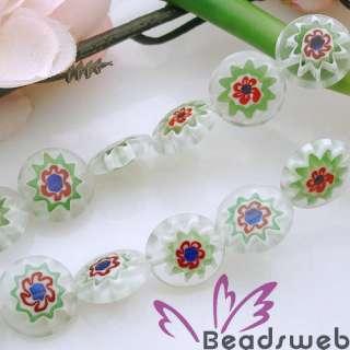 20PC Light Green Millefiori Glass Coin Loose Beads 12mm