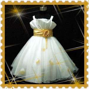Gold Bridesmaid Flowers Girls Dress 2 3 4 5 6 7 8 9 10Y