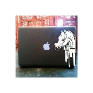 Arabian horse face eating apple macbook vinyl decal