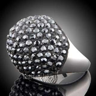 18K white GOLD GP black Swarovski crystal ring 1299