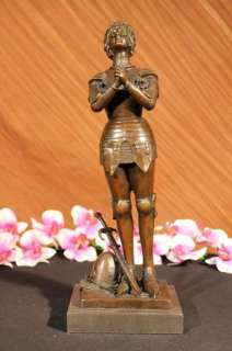 MAGNIFICENT JOAN OF ARC PRAYING BRONZE STATUE BY MERCI SCULPTURE