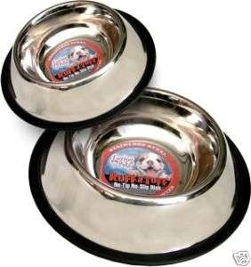 Stainless Steel No Tip Dog Bowl with Rubber Ring 8 oz.