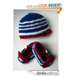 French nautical beanie and baby booties set (53) (crochet sets) Luz