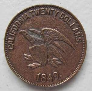 1851 Smv California Gold Twenty Dollar Baldwin Coin Token