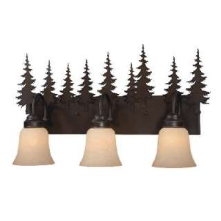 NEW 3 Light Rustic Tree Bathroom Vanity Lighting Fixture Burnished