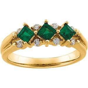 14K Yellow Gold Emerald & Diamond Anniversary Band Ring