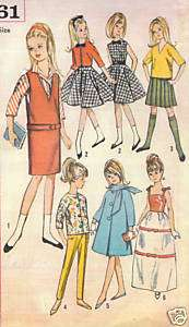 Vintage 1964 Teen Fashion Doll Pattern 5861   SPECIAL DOLL PATTERN