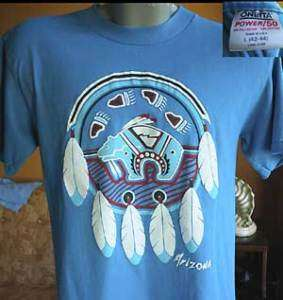 Vtg 80s ARIZONA NATIVE Mens T shirt LARGE USA L Blue