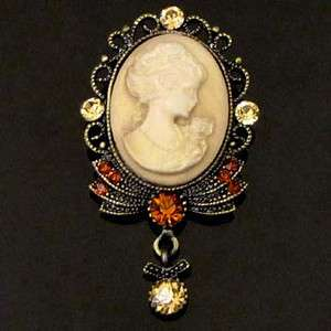 ADDL Item  1p Rhinestone crystal Cameo Pin Brooch