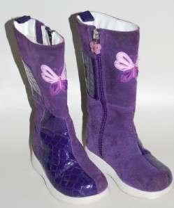 Girls Gymboree FOLK SONG Purple Suede Boots 7 Toddler