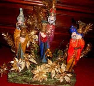VTG NATIVITY FIGURINE SET 3 KINGS CERAMIC THREE WISE MEN CHRISTMAS