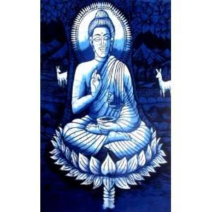 Lord Buddha Indian God Cotton Fabric Tapestry Batik Painting Wall