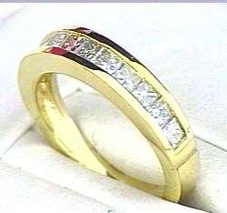11 Princess cut DIAMOND Anniversary Ring 14k Yellow Gold Band