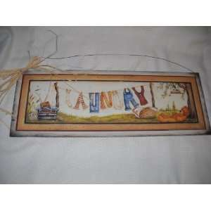 Country Laundry Clothes Line Wooden Wall Art Sign: Home & Kitchen