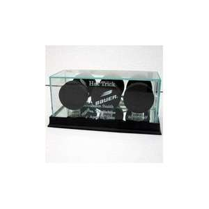 Hockey Puck Display Case with Cherry Wood Molding
