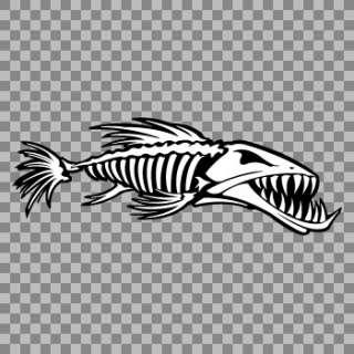 Decal Stickers Fish bones Skull Skeleton Fish Attack helmet fishing