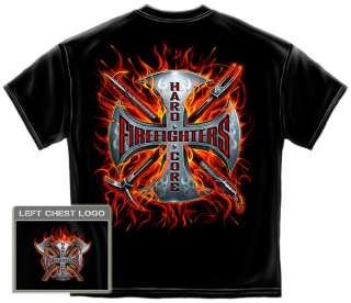 Flaming Firefighters Cross T Shirt hard core crow bar iron cross