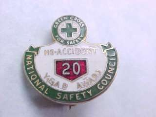 1930s Green Cross Safety Council 20yr No Accident Pin