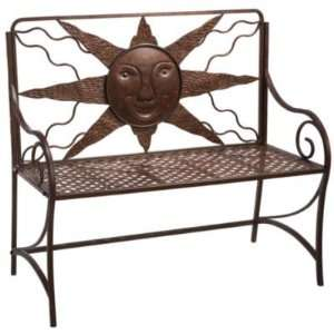Happy Sunny Day Unique Outdoor Bench wSun Face Iron Rust