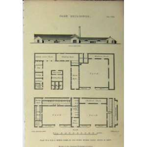 Farm Buildings Elevation Dairy C1890 Plan Yard Shed Home & Kitchen