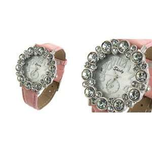 Round Crystal Style Ladies Girls Leatherette Wrist Watches Pink Band