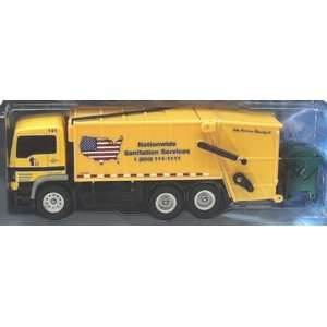 Action City Yellow Garbage Truck with Green dumpster: Toys