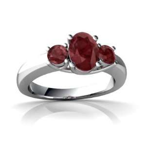 14K White Gold Oval Genuine Ruby Ring Size 8.5 Jewelry