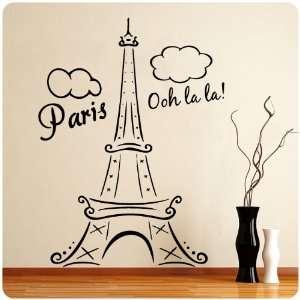 Paris Eiffel Tower Ooh La La Wall Decal Decor France Love Hearts Large
