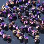Purple Faceted Crystal Glass Bicone Loose Beads 3mm For Jewelry Making