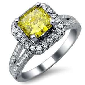 16ct Canary Yellow Cushion Cut Diamond Engagement Ring 18k White Gold
