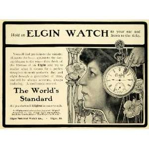 1901 Ad Elgin National Watch Word Pocket Accessory Jewelry