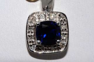 12CT BLUE SAPPHIRE & DIAMOND CLUSTER PENDANT