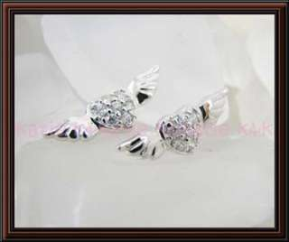 925 Sterling Silver Angel Wings Heart Stud Earrings