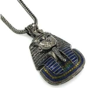 Hip Hop Bling Hematite Black King Tut Pharaoh Pendant