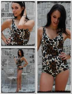 Vintage 50s Catalina Wild Animal Print Pin Up Swimsuit