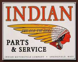 Metal Sign   Indian Motorcycles Parts & Service Chief Logo #583