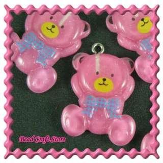 5pcs Lucite Dark Pink Relax Sitting Bear Charm Blue Bow