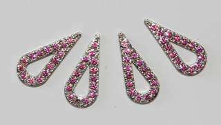 VINTAGE TEAR DROP RHINESTONE FABRIC GLUE ON METAL FINDINGS BEADS ROSE