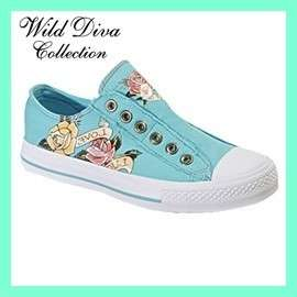 Blue Skull Heart Tattoo Sneakers/WILD DIVA Shoes  6.5